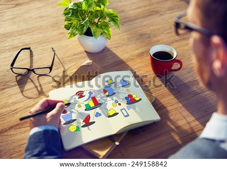 Marketing Global Business Growth Commercial Media Concept - stock photo
