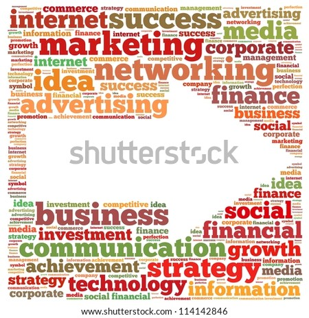 Marketing info-text graphics and arrangement concept on white background (word cloud) - stock photo