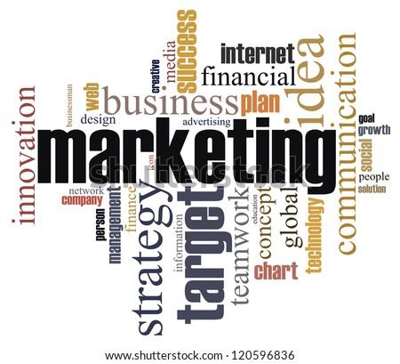 Marketing info-text graphics arrangement concept on white background - stock photo