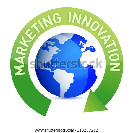 Marketing innovation cycle and globe illustration design