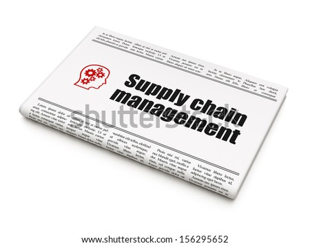 Marketing news concept: newspaper headline Supply Chain Management and Head With Gears icon on White background, 3d render - stock photo