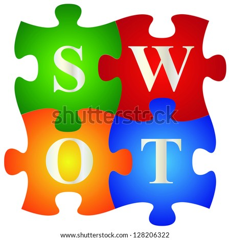 Marketing or Business Concept Present By Four Pieces of Colorful SWOT Puzzle Isolated on White Background - stock photo