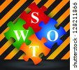 Marketing or Business Concept Present By Four Pieces of Colorful SWOT Puzzle With Caution Zone Dark and Yellow Background - stock photo