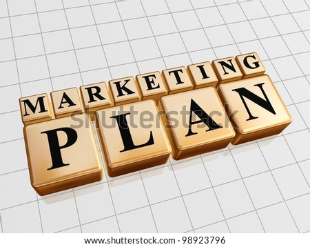 marketing plan - golden boxes with black letters - stock photo