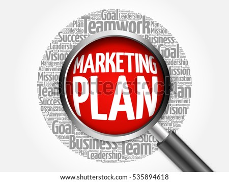 Marketing Plan Word Cloud Magnifying Glass Stock Illustration