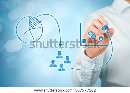 Marketing positioning and marketing strategy - segmentation, targeting, and positioning. Visualization of marketing positioning and similar situations on market.  - stock photo