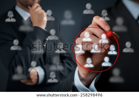 Marketing segmentation, target audience, customers care, customer relationship management (CRM) and team building concepts.  - stock photo