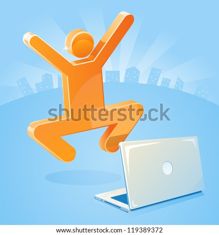 Marketing Success in an E-business as stick figure jumps for joy behind his laptop. - stock photo
