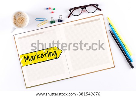 Marketing text on notebook with copy space - stock photo