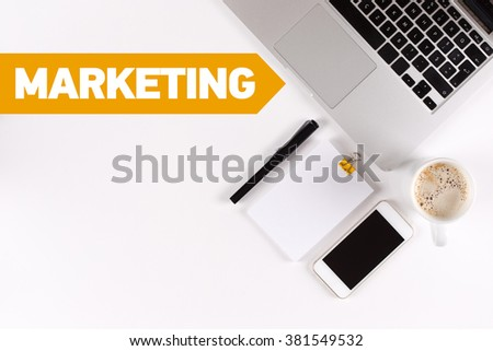 Marketing text on the desk with copy space - stock photo