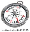 marketing versus advertising concept compass - stock photo