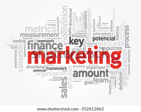Marketing word cloud, business concept presentation background