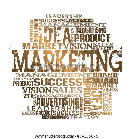 Marketing Word Cloud Concept. Gold Style White Background - stock photo