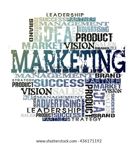 Marketing Word Cloud Concept. On White Background - stock photo