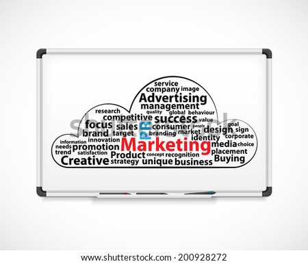 Marketing word cloud. Diagram on a white board. - stock photo