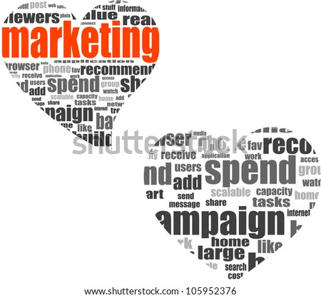 marketing. Word collage set in heart shape. Illustration with different association terms - raster - stock photo