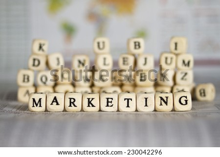 marketing word on newspaper background