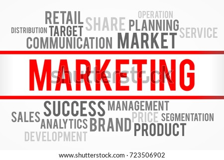 Marketing word with business concept
