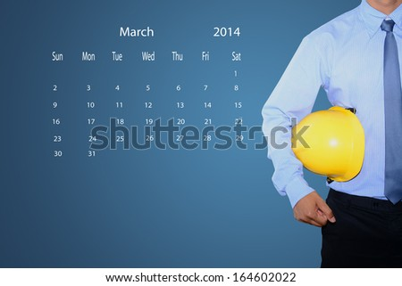 marking new year day on calendar March 2014. - stock photo