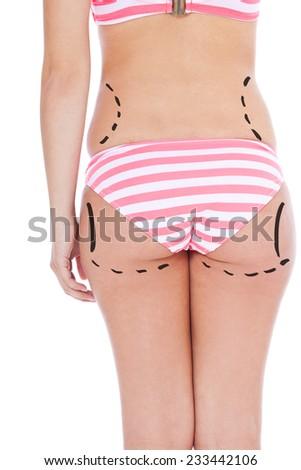 Marks on female body skin. All on white background. - stock photo