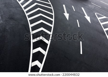 Marks on the road from high angle view - stock photo