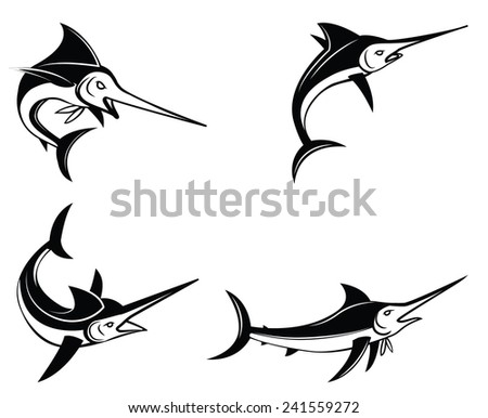 Marlin Fish Symbol Set Collection - stock photo