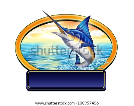 Marlin jumping out of water in a label with copy-space. Digital illustration. - stock photo