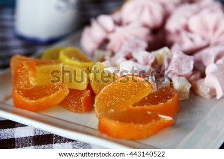 marmalade, sweets on a plate - stock photo