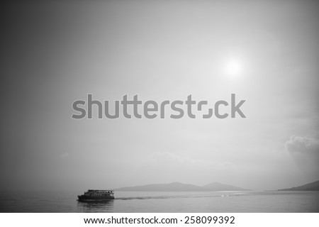 Marmara Sea view with islands and ship - stock photo