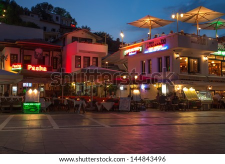 Marmaris,  TURKEY - June 7th: Street at night in Marmaris. Promenade, is a popular destination for tourists and locals in Marmaris. Marmaris, Turkey, June 7, 2013