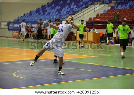Marmaris, Turkey - May 03, 2016 : Handball players are playing during the Unilig University summer competitions on May 03, 2016 in Marmaris, Turkey.  - stock photo