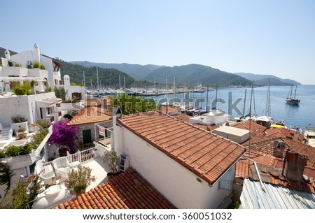 Marmaris, Turkey - May 24, 2014 : Marmaris old town view. Marmaris Old Town is populer place for lifestyle, entertainment and attractions,
