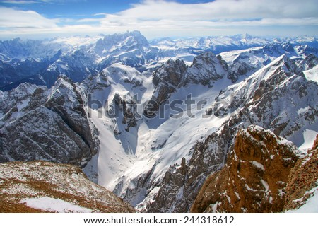 Marmolada 3343 m in Dolomites is a highest mountain of Italy - stock photo
