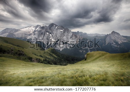 Marmolada mountains ridge, Val di Fassa, Italian Dolomites - stock photo
