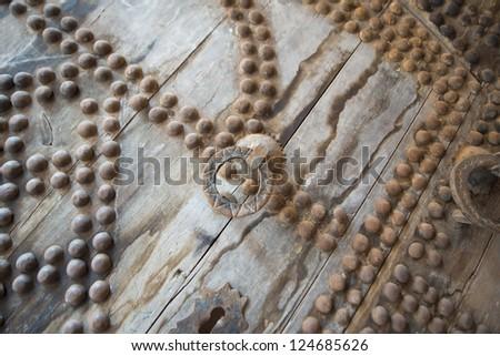 Maroc Telouet kasbah wooden ancient door - stock photo