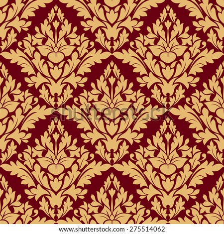 Maroon and orange damask seamless pattern for fabric design - stock photo