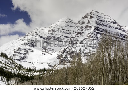 Maroon Bells and Aspen forest - stock photo