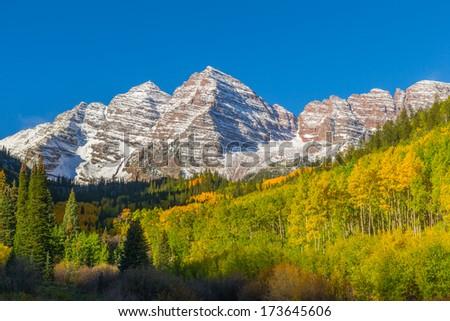 Maroon Bells Autumn Landscape - stock photo