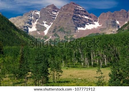 Maroon Bells Peaks, Summer 2012 - stock photo