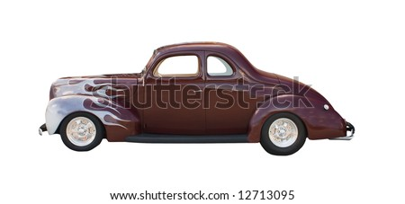 maroon hotrod with subtle white flames isolated on white - stock photo