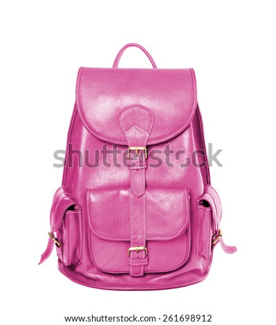 Maroon leather backpack standing isolated on white background - stock photo