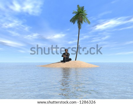 Marooned - Man on a desert island - stock photo