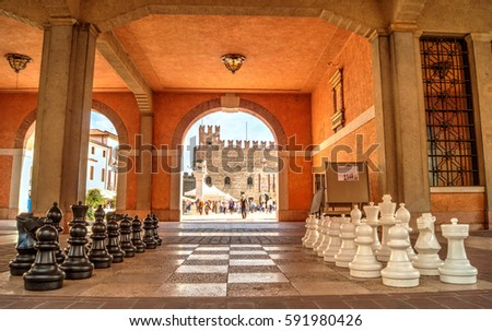 Marostica, Vicenza - September 27, 2015: chessboard in the square of Marostica. This chessboard  is also tourist attraction in Marostica, Vicenza, Italy