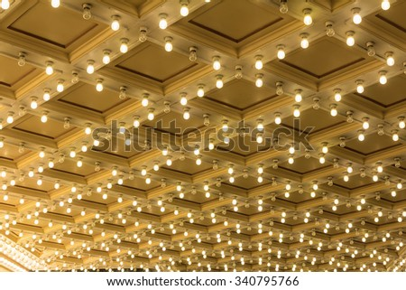 Marquee Lights on Broadway Theater Exterior Ceiling - stock photo