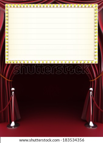 Marquee with curtains, red carpet and barriers with room for text or copy space.