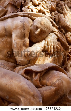 Marques de dos Aguas Palace with alabaster sculptures facade in Valencia Spain - stock photo