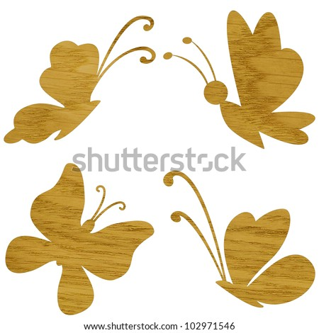 Marquetry, butterfly of ash wood veneer, isolated on white background