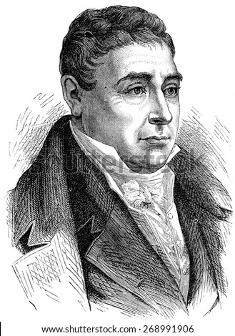 Marquis de Lafayette, vintage engraved illustration. History of France 1885.