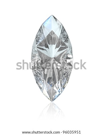 Marquise cut diamond, isolated on white background