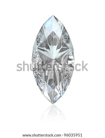 Marquise cut diamond, isolated on white background - stock photo